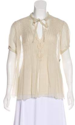 Galliano Silk Short Sleeve Top