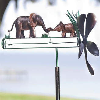 Wind & Weather Recycled Metal Elephant Whirligig Spinner