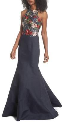 La Femme Embroidered Denim Mermaid Gown