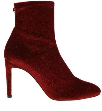 Giuseppe Zanotti Boots In Velvety Fabric Elasticized Glitter Effect Color Bordeaux
