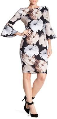 Modern American Designer Floral Printed Bell Sleeve Dress