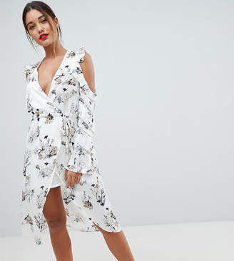 Missguided exclusive floral cold shoulder midi dress