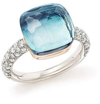 Pomellato Nudo Maxi Ring with Faceted Blue Topaz and Diamonds in 18K White and Rose Gold