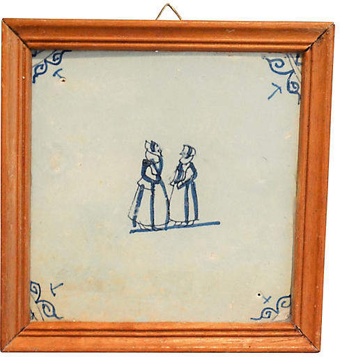 One Kings Lane Vintage 18th-C. Framed Dutch Delft Tile - Faded Rose Antiques LLC