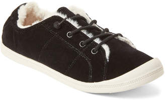 Madden-Girl Black Bailey Faux Fur-Lined Sneakers