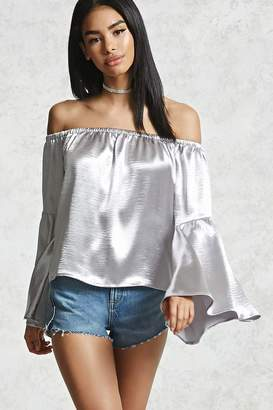 Forever 21 Sateen Off-the-Shoulder Top