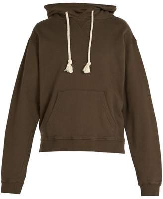 J.W.Anderson Logo Embroidered Hooded Cotton Sweater - Mens - Khaki