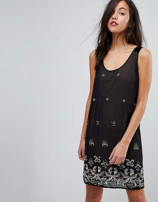 French Connection Embellished Dress with Velvet Straps