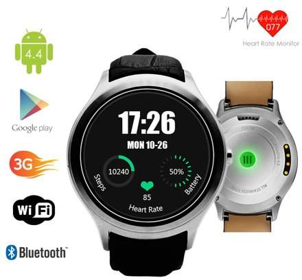 Indigi 3G Smartwatch & Phone (Factory Unlocked) Android 4.4 KitKat + WiFi + Google Maps + Built-In Camera +
