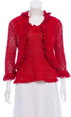 Oscar de la Renta Scalloped Open Knit Cardigan Set