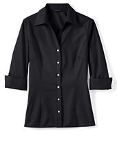 Lands' End Women's 3/4 Sleeve Tonal Stripe Shirt-Charcoal