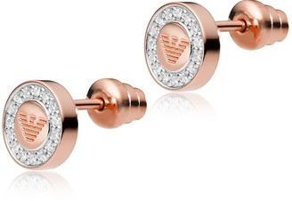 b9c0a58c3 Emporio Armani Heritage Sterling Silver PVD Rose Goldtone Earrings  w/Crystals