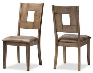 Baxton Studio Set of 2 Gillian Shabby Chic Country Cottage Wood Finishing and Distressed Faux Leather Upholstered Dining Side Chairs - Gray, Brown