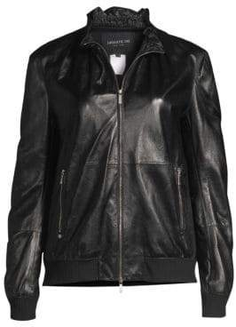 Lafayette 148 New York Kiki Ruffled Collar Leather Jacket