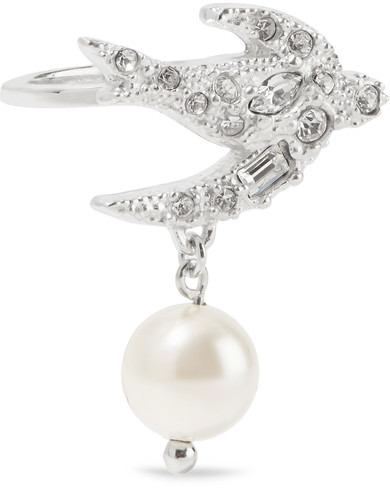 Miu Miu Miu Miu - Silver-plated, Swarovski Crystal And Faux Pearl Ring - S