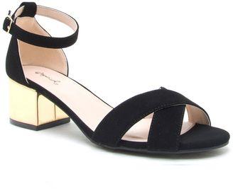 Black Strappy Sandals Mid Heel - ShopStyle UK