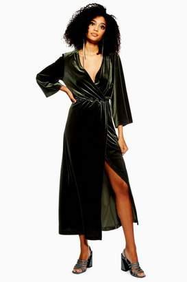 Topshop Yas Velvet Wrap Maxi Dress by YAS