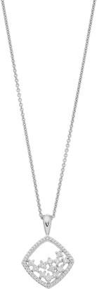 Vera Wang Simply Vera Sterling Silver 1/4 Carat T.W. Diamond Openwork Rhombus Pendant