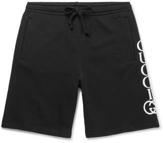 Gucci Wide-Leg Logo-Print Loopback Cotton-Jersey Drawstring Shorts