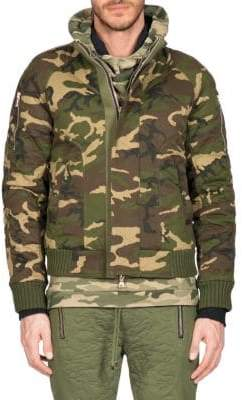 Balmain Quilted Camouflage Bomber Jacket