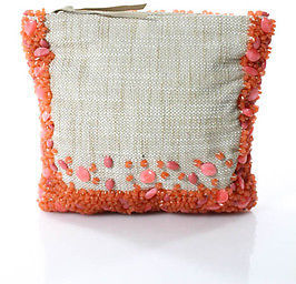 Banana Republic Pink Beige Beaded Zipper Closure Small Fold Over Clutch $29 thestylecure.com