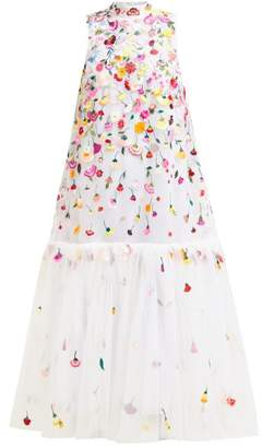 Mary Katrantzou Tresor Floral Embroidered Tulle Gown - Womens - White Multi