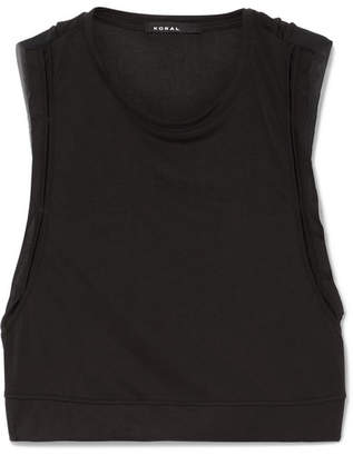 Koral Cropped Mesh-paneled Jersey Top - Black