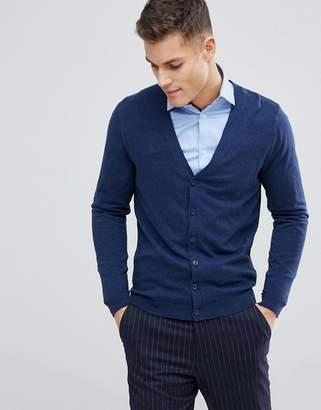 Asos Design Cotton Cardigan In Navy
