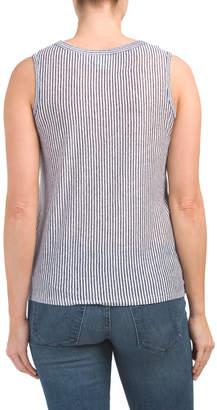 Rachel Zoe Button Down Tie Front Linen T Shirt