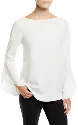 Lafayette 148 New York Emory Finesse Crepe Blouse, Plus Size