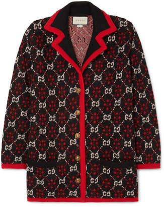 Gucci Oversized Alpaca And Wool-blend Jacquard Cardigan - Black
