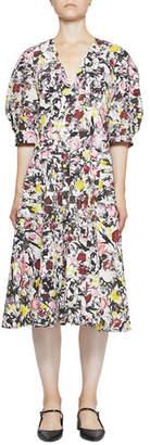 Erdem Cressida Cotton Poplin Floral V-Neck Dress