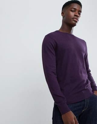Burton Menswear crew neck sweater in purple