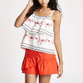 River Island Womens White tiered embroidered cami top