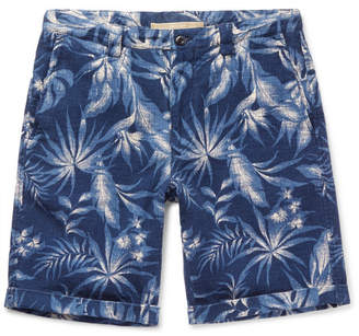Incotex Printed Cotton And Linen-Blend Shorts