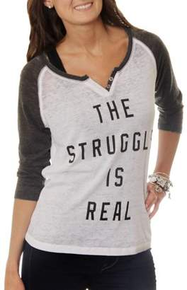 Freeze Women's The Struggle is Real Graphic Baseball T-Shirt