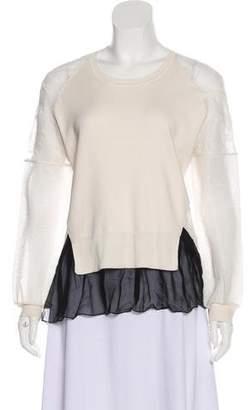 Prabal Gurung Silk Lace-Trimmed Sweater