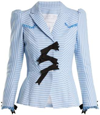 Andrew Gn Striped bow-embellished cotton jacket