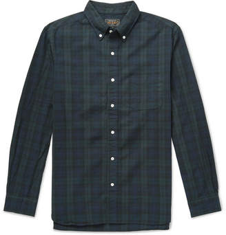 Beams Button-Down Collar Black Watch Checked Cotton Shirt