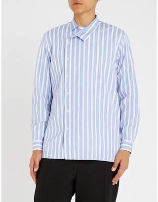 Jil Sander Asymmetric striped cotton shirt