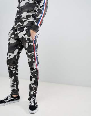 Le Breve Camo Jogger With Taping