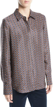 Lafayette 148 New York Scottie Globetrotter Triangle Silk Jacquard Blouse