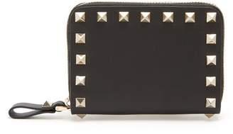 Valentino Rockstud Zip Around Leather Wallet - Womens - Black
