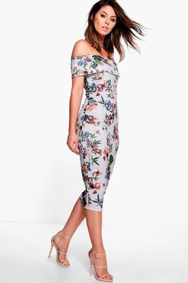 boohoo Lucie Off Shoulder Floral Midi Dress $30 thestylecure.com