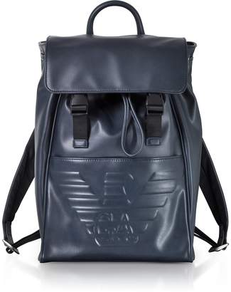 Emporio Armani Navy Blue Ebossed Eagle Backpack