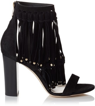 Jimmy Choo MALIA 95 Black Suede Sandals with Fringe Detailing and Studs