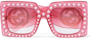 Gucci - Crystal-embellished Square-frame Acetate Sunglasses - Pink $1,380 thestylecure.com