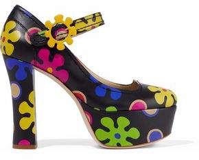 Moschino Printed Platform Leather Pumps