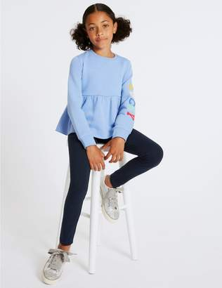 Marks and Spencer Cotton Rich Leggings with Stretch (3-16 Years)