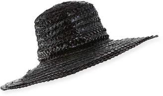 Gigi Burris Millinery Taya Coated Straw Sun Hat Black